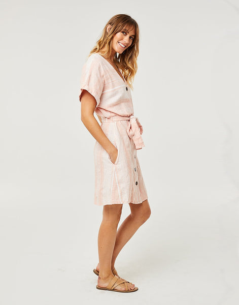 Willow Dress : Guava Stripe