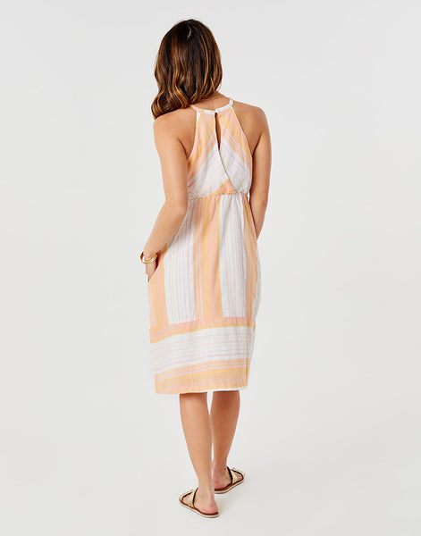 Mabel Dress : Guava Sunrise Stripe