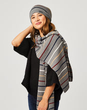 Load image into Gallery viewer, Zapata Scarf : Grey Heather Stripe