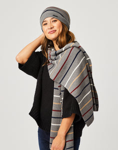 Zapata Scarf : Grey Heather Stripe