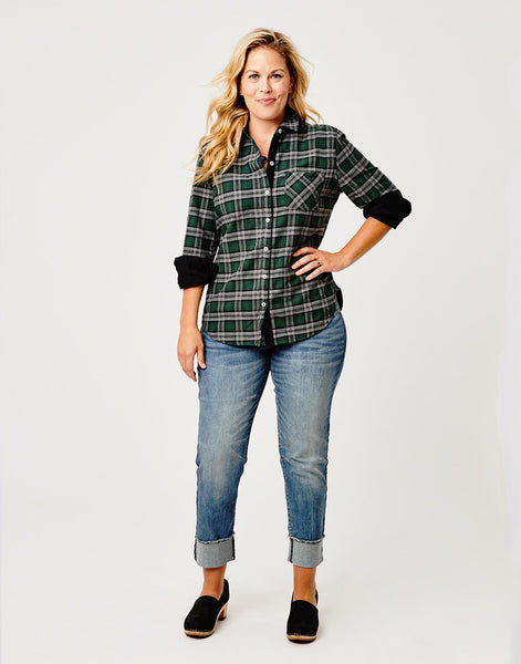 Lydia Button Down: Black Malacite Plaid