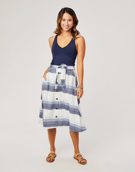 Amaya Skirt: Navy Sunrise Stripe