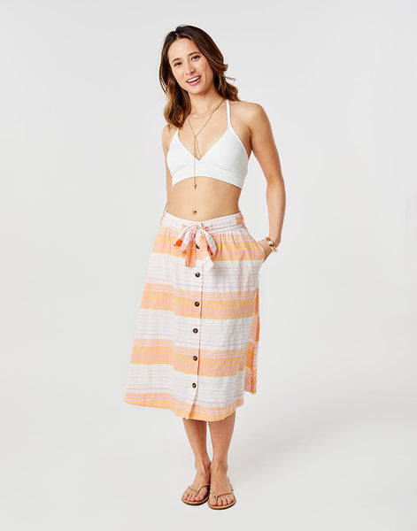 Amaya Skirt: Guava Sunrise Stripe
