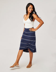 Ivy Skirt : Navy Vintage Stripe