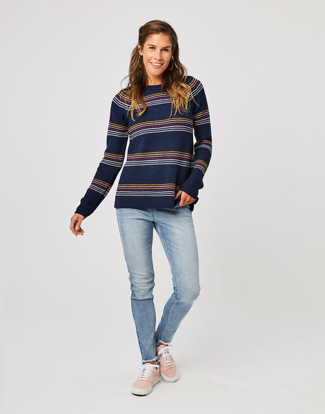 Cabana Sweater : Navy Rainbow Stripe