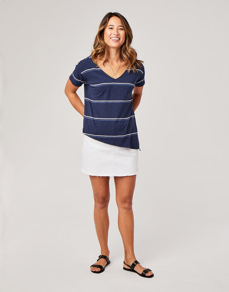 Lara Top: Navy Vintage Stripe