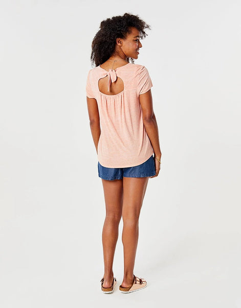Layla Top : Guava Textured Stripe