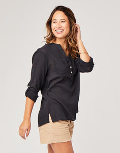 Dylan Gauze Shirt: Black