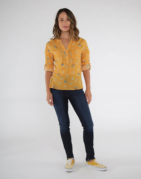 Dylan Gauze Shirt: Sunflower Belle