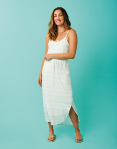Vikki Dress: Cloud Aqua Stripe