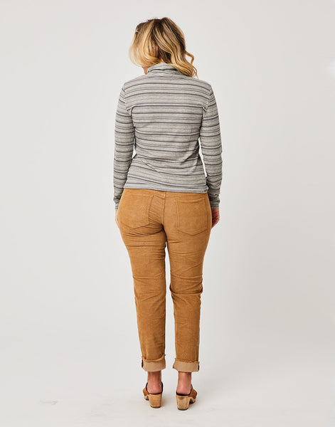 Whitney Top: Pewter Heather Stripe
