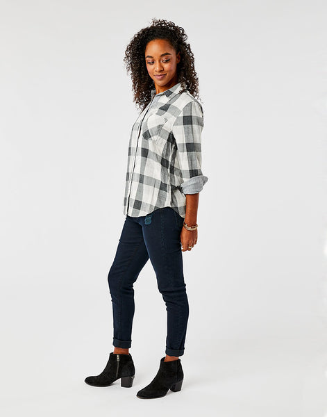 Lydia Button Down: Moon Plaid/Moon Stripe
