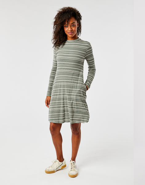 Sedona Dress: Moss Stripe