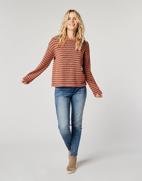 Whitcomb Sweater: Red Rock Brunette Stripe