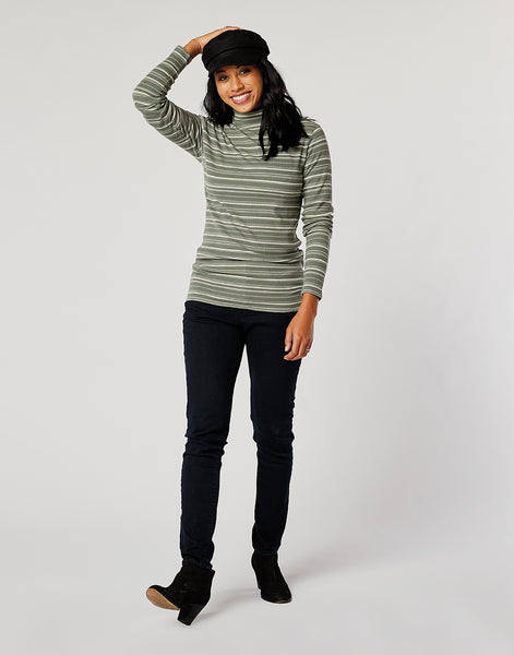 Whitney Top: Moss Stripe
