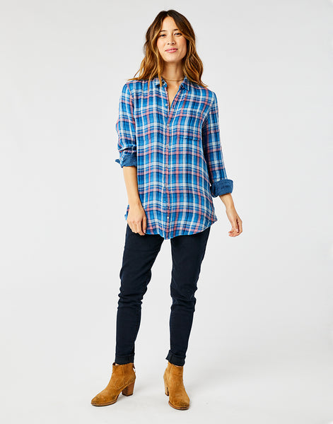 Lydia Button Down: River Plaid/River Check
