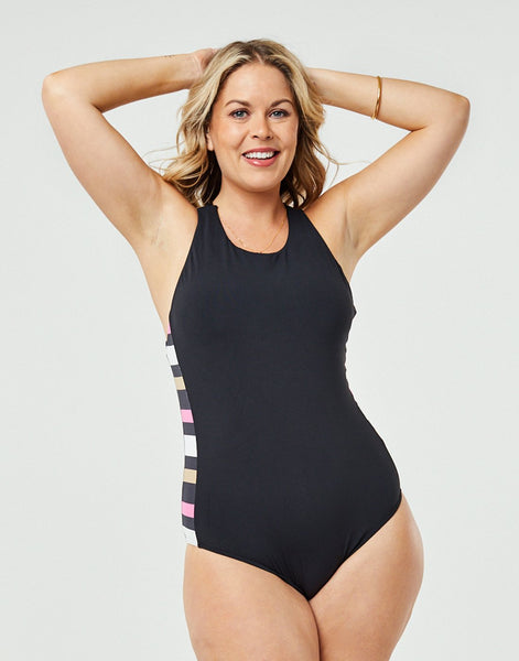 Inverness One Piece : Black w. Broadstripe