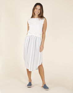 Peyton Skirt: Cloud Pencil Stripe