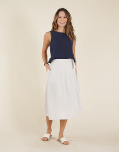 Cascade Skirt: Cloud Pinstripe