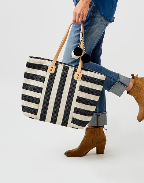 Harbor Springs Tote: Black/White