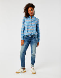 Perry Button Down: Lake Stripe