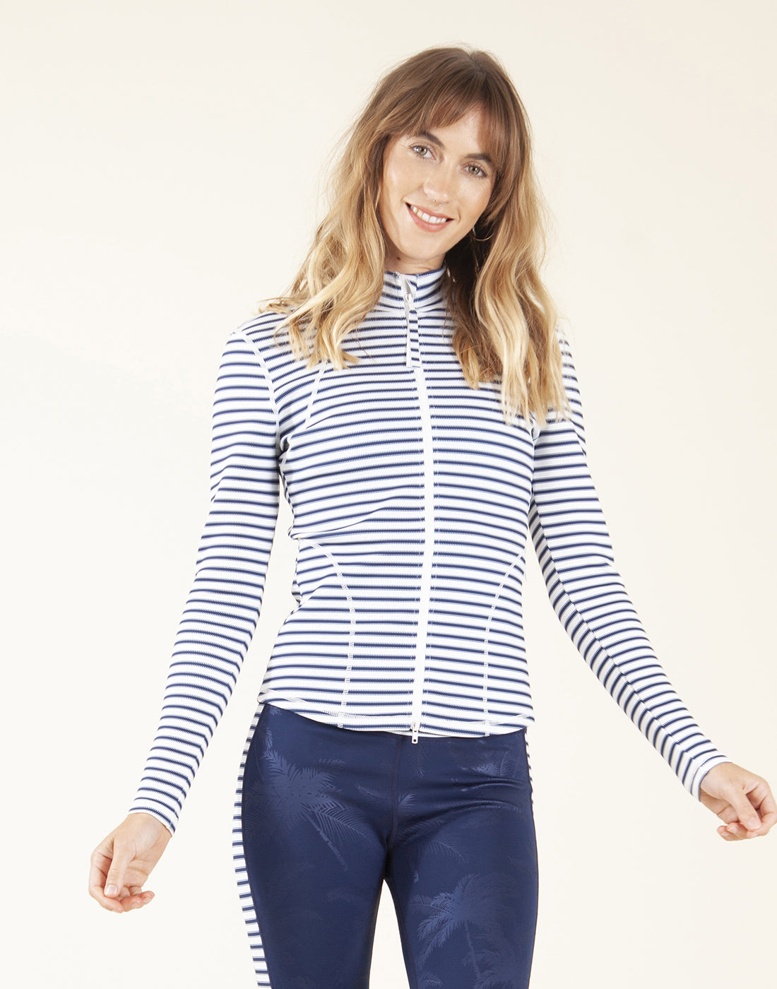 Stella Zip-Up Jacket: Dash Stripe