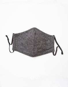 Herringbone Knit Face Mask: Black Topo
