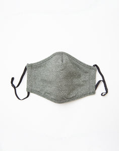 Herringbone Knit Face Mask: Moss Topo
