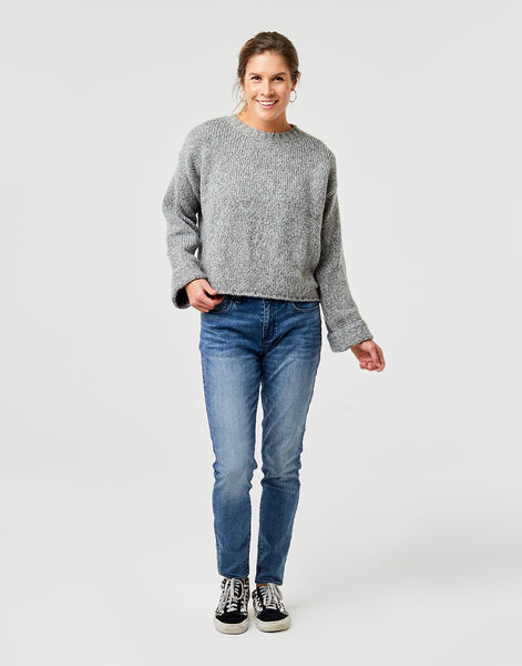 Estes Crop Sweater: Limestone Heather