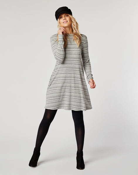 Sedona Dress: Pewter Stripe