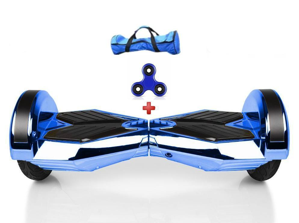 Chrome Hoverboard Blue Segway Lamborghini Edition for Sale 8 Inch with Bluetooth Speaker, Samsung Battery + Fidget Spinner