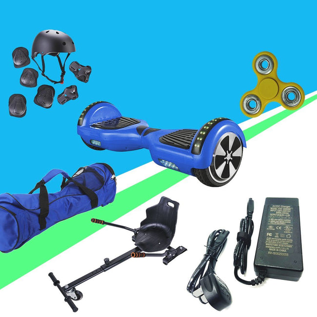 6.5 Chrome Blue Disco App Hoverboard Led + Hoverkart Bundle - 30% sale Offer - Segwayfun