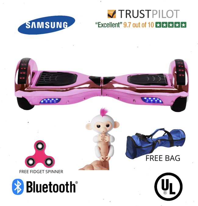 2019 APP ENABLED PINK Chrome Hoverboard with Bluetooth Speaker - Segwayfun