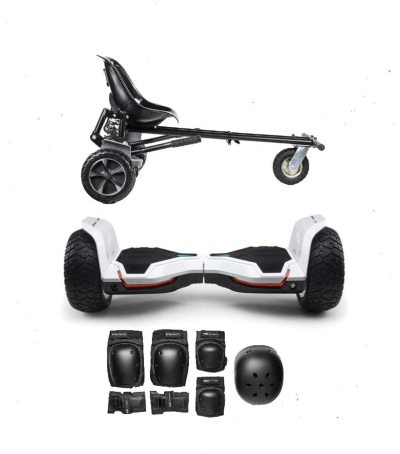 2019 White Warrior Hoverboard Off Road  Hoverkart Bundle - 30% Black Friday - Segwayfun