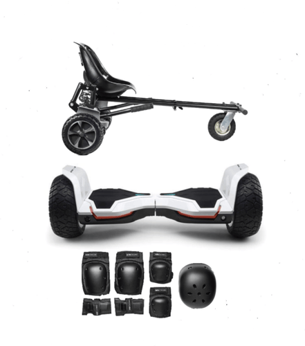 Updated All Terrain White Warrior Hoverboard Off Road  Hoverkart Bundle Deals - Segwayfun
