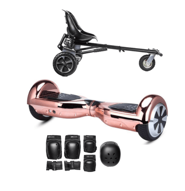 App Enabled Bluetooth Hoverboard + Hoverkart Bundle - Chrome Rose - Segwayfun