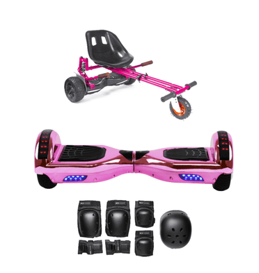 App Enabled Bluetooth Hoverboard + Hoverkart Bundle - Chrome Pink - Segwayfun