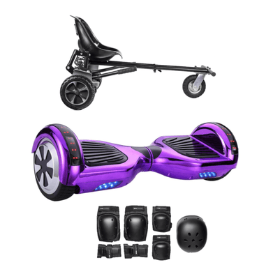 App Enabled Bluetooth Hoverboard + Hoverkart Bundle - Chrome Purple - Segwayfun