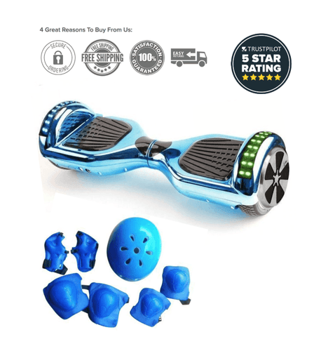 2019 APP ENABLED Blue Limited Chrome Edition 6.5 Inch Bluetooth Hoverboard - Segwayfun