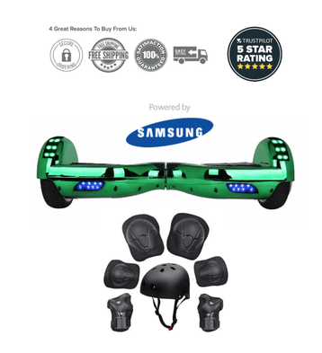 2020 App Enabled Chrome Green Classic Disco 6.5 Inch Hoverboard - SWEGWAYFUN