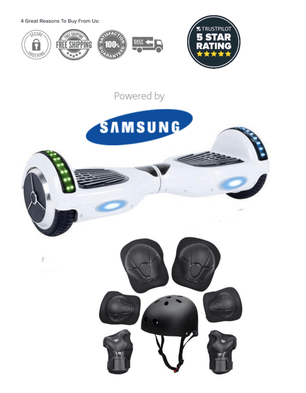 2019 APP ENABLED 6.5 Inch White Classic Hoverboard Disco Samsung - Segwayfun