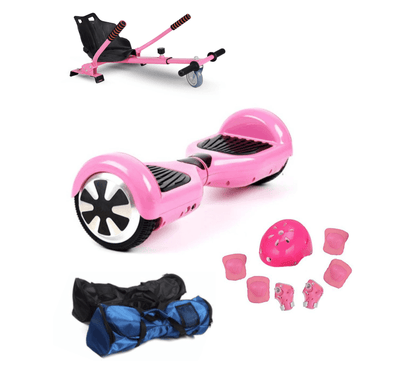 6.5 Inch Classic Pink Hoverboard with Hoverkart, Pink Hoverboard Bundle - Segwayfun