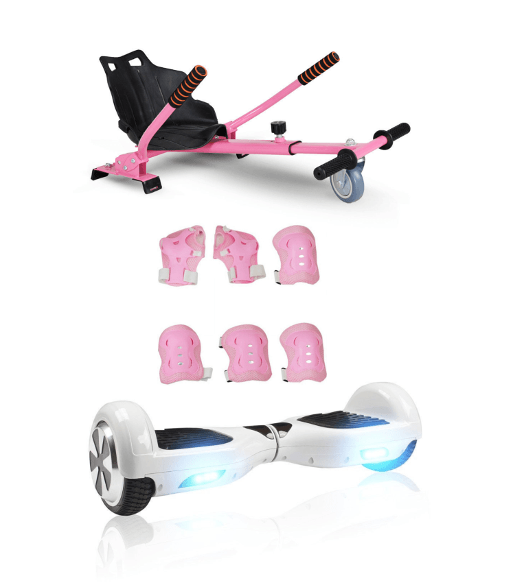 6.5 White classic Swegway Hoverboard + Pink Hoverkart Bundle Deal - Segwayfun
