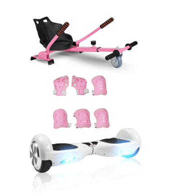 6.5 White classic Swegway Hoverboard + Pink Hoverkart Bundle Deal - SWEGWAYFUN