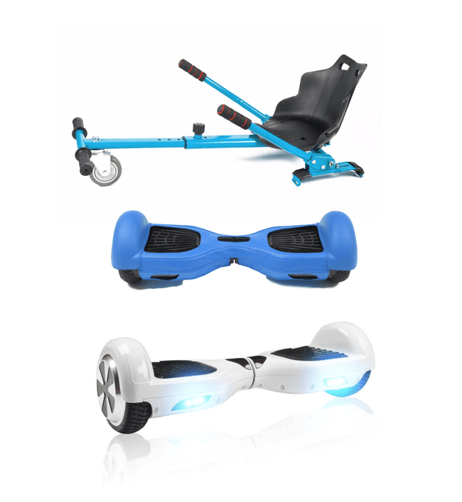 6.5 White classic Swegway Hoverboard + Blue Hoverkart Bundle Deal + Blue Protective case - Segwayfun