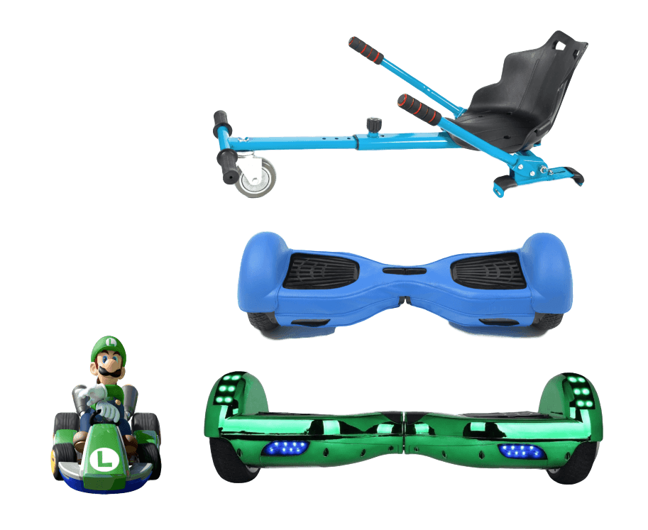 2019 SUPER MARIO LUIGI -  6.5 Green classic Swegway Hoverboard + Blue Hoverkart Bundle Deal + Blue Protective case - Segwayfun