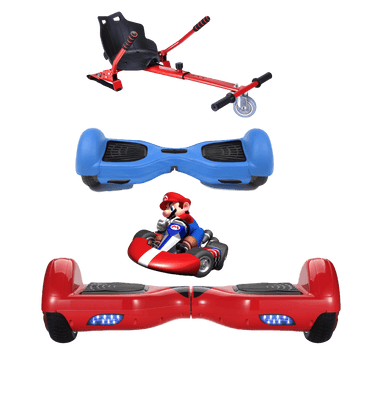 2019 SUPER MARIO -6.5 Red classic Swegway Hoverboard + RedHoverkart Bundle Deal + Blue Protective case - Segwayfun