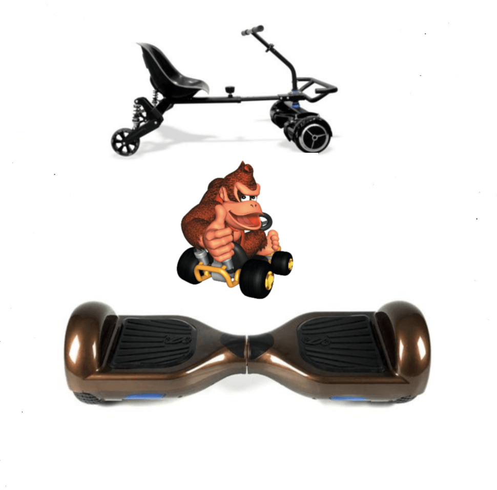2019 SUPER MARIO DONKEY KONG  -  6.5 Brown classic Swegway Hoverboard + Black  Hoverkart Bundle Deal - Segwayfun