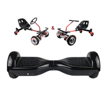 Load image into Gallery viewer, UNLEASH THE RACER IN YOU!! -- Racer Steering Wheel Hoverkart + Hoverboard Bundle - Black - Segwayfun