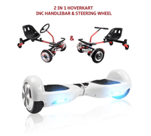 Load image into Gallery viewer, UNLEASH THE RACER IN YOU!! -- Racer Steering Wheel Hoverkart + Hoverboard Bundle - White - Segwayfun